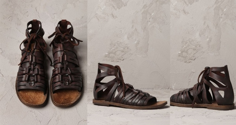 DOLCE AND GABBANA  LEATHER VESUVIUS HIGH-TOP SANDAL