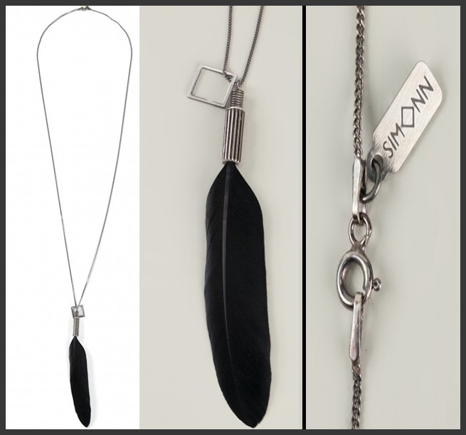 SIMONN Black Feather Necklace